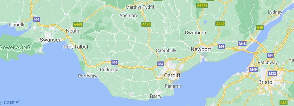 Map of South Wales and Bristol